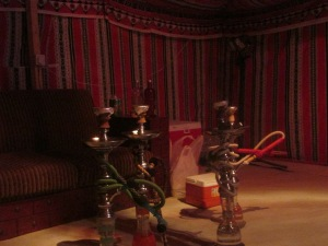 shisha inside the tent