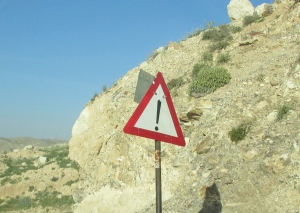 I loved these road signs. I assume they were warning of falling rock.