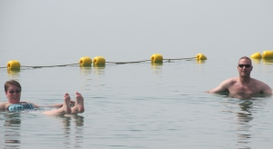 Gabe and I floating in the Dead Sea