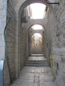 One of the streets (alleyways) in the Jewish Quarter of the Old City.