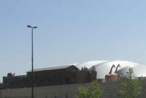 museum with Noah's Ark and animals on top