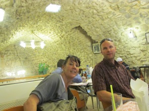 Kelly and Gabe in a cave cafe inside the Old City