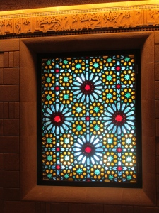 stained glass in Moroccan prayer room