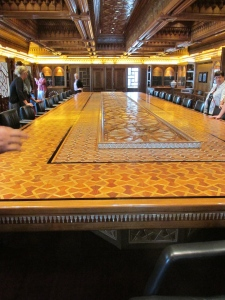 Mamluk meeting room with massive inlaid table and carved oak ceiling