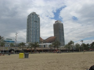 beach and buildings in Barcelona