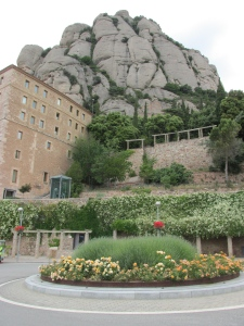 on the grounds outside the Montserrat monastery