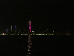 The night time skyline of Kuwait City.