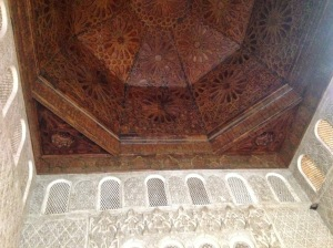 Wooden ceiling and intricate stonework below