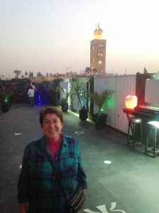 Me with the minaret in the background from the rooftop terrace bar.
