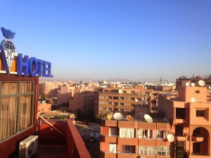 Marrakech from the rooftop pool of our hotel