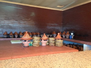 Tagines cooking to be ready for the lunch crowd at the road side stop