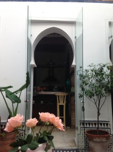 Sitting in the courtyard and looking into the kitchen at our riad in Rabat