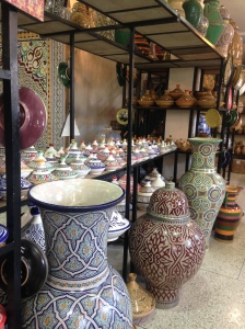 All sizes and shapes of pottery available in the retail shop.
