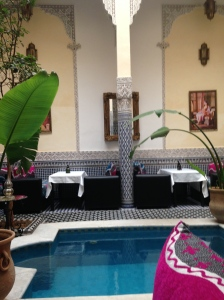 The courtyard and dining room of our riad with the water feature.
