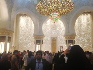 one of several Christmas ornament chandeliers (my appellation) at Grand Mosque