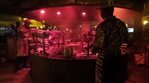 The roasting pit at Carnivore restaurant.