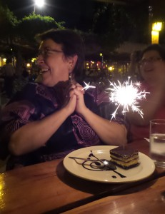 That's a sparkler in the tiramisu dessert!