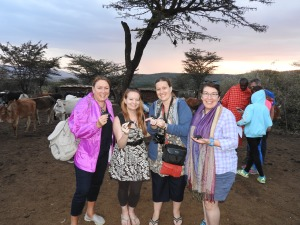Nora, Janine, Chantelle and me holding the only rhinos we were able to spot.