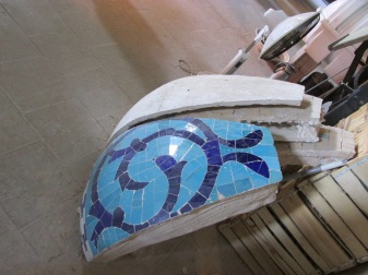 They were repairing the outside dome tiles. These are small sections that will be put on the large wedge.