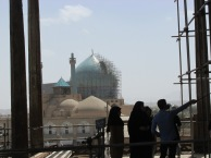 Looking at the Imam Khomeini mosque from the palace terrace. The scaffolding is where the section will go up.