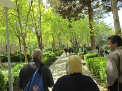 Walking through the gardens toward the royal reception palace.
