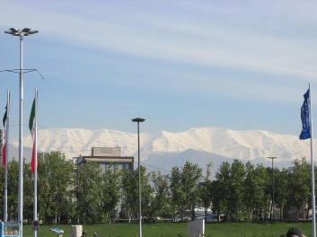 The beautiful snow covered mountains surrounding Tehran.