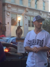 A man and his hawk in Wilmington, NC (this is Parker and it's not his hawk)