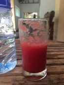 Upon arrival at the hotels I was always offered juice. This was watermelon!