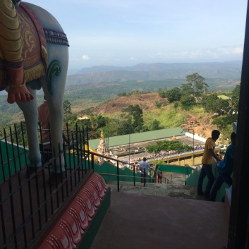 Looking down from the entrance at a Hindu temple we stopped at